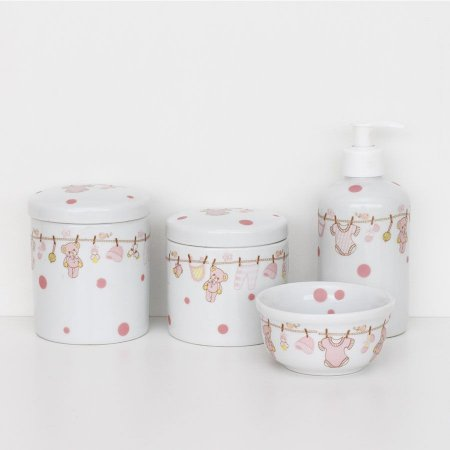 kit higiene de porcelana - Bebê rosa