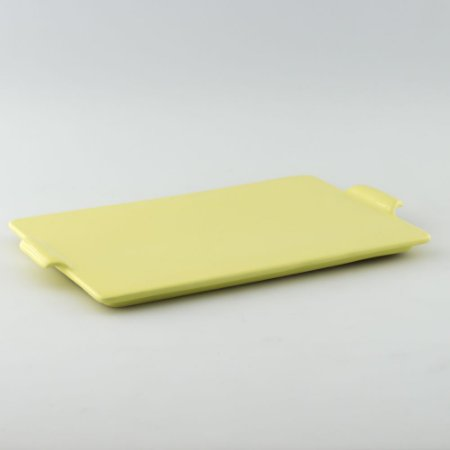 Bandeja retangular de louça amarela