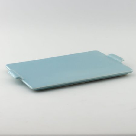 Bandeja retangular de louça azul