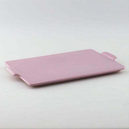 Bandeja retangular de louça rosa bebê