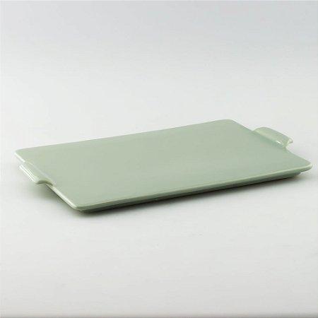 Bandeja retangular de louça verde