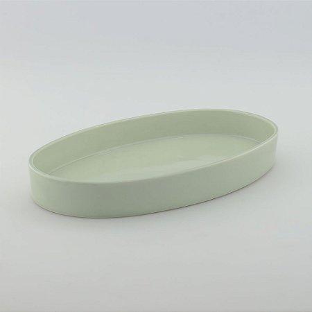 Bandeja oval de louça verde
