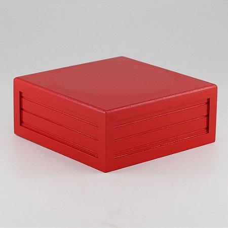 Caixa de altura lisa em MDF - Vermelho