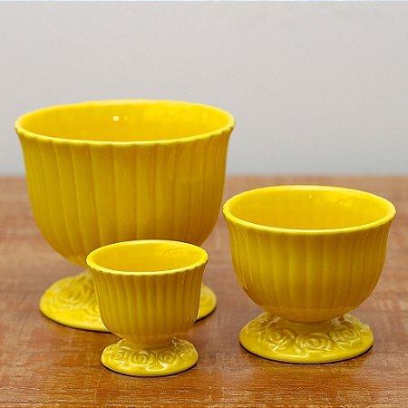 Cachepot Canelado Amarelo