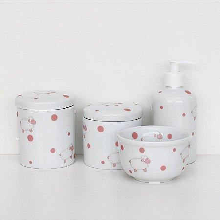 kit higiene de porcelana - Ovelhinhas rosa
