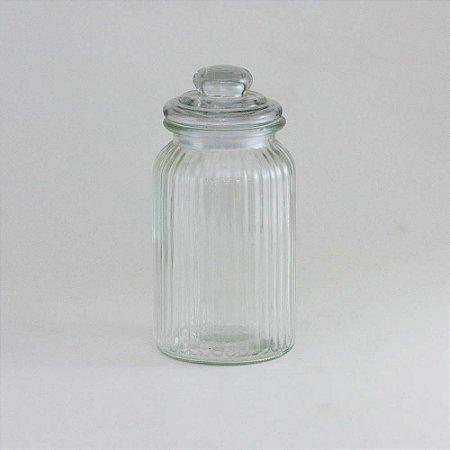 Pote de vidro canelado G