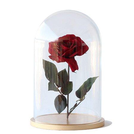 Redoma de vidro lisa com rosa - base de MDF dourada