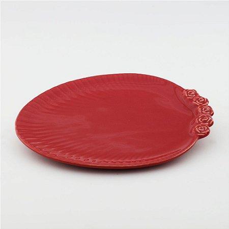 Prato Oval vermelho - grande (26x33cm)