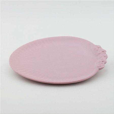 Prato Oval rosa bebê - grande (26x33cm)