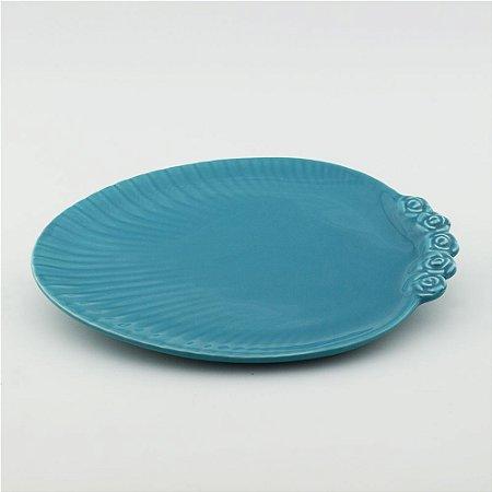 Prato Oval turquesa - grande (26x33cm)
