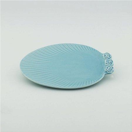 Prato Oval azul - pequeno (21x27cm)