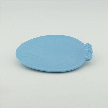 Prato Oval azul bebê - pequeno (21x27cm)