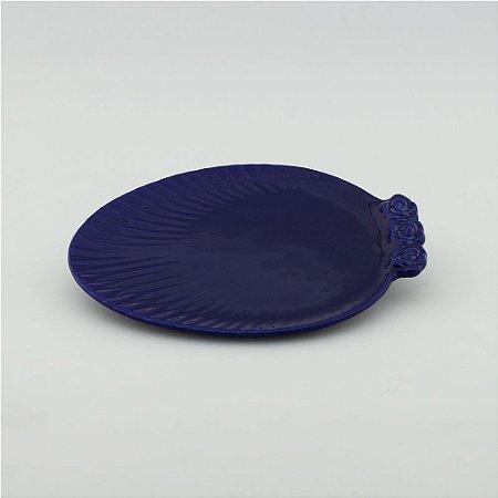 Prato Oval azul marinho - pequeno (21x27cm)