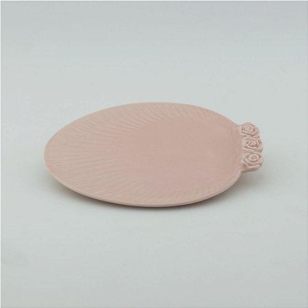 Prato Oval rosa - pequeno (21x27cm)