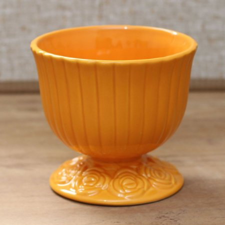 Cachepot canelado laranja G (16x18cm)