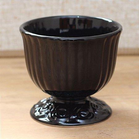 Cachepot canelado preto G (16x18cm)