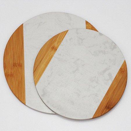 Tábuas de bambu e mármore redondas