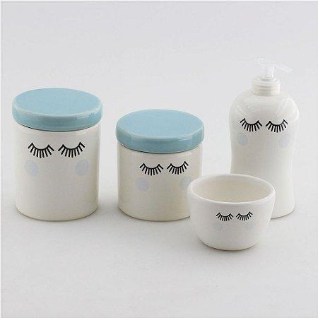 Kit Higiene Azul e Branco - Cílios com bochecha azul