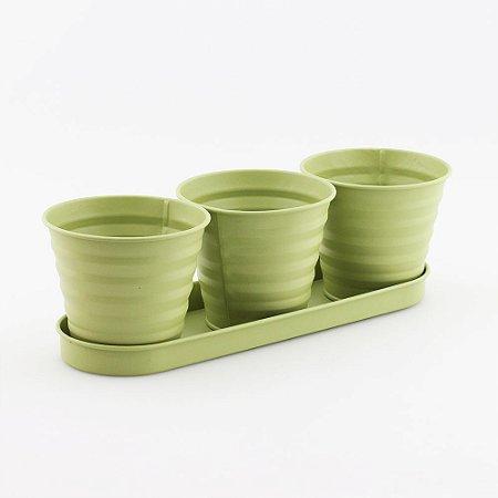 Trio de cachepots de metal - Verde