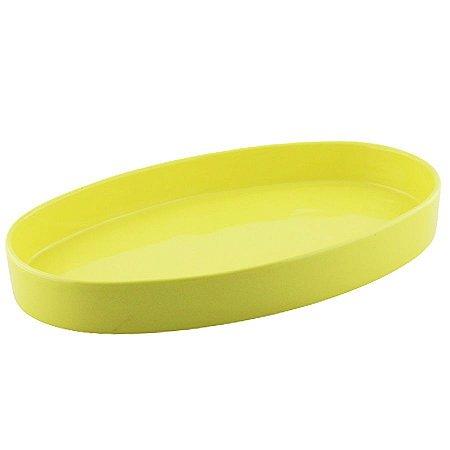 Bandeja oval de louça amarela candy