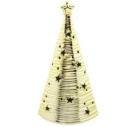 Árvore de Natal em cerâmica com LED - dourada