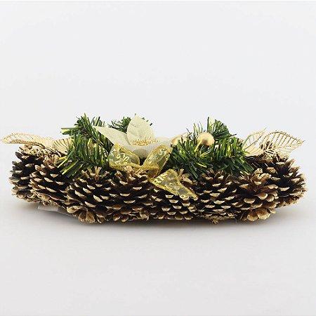 Castiçal duplo de mesa - dourado