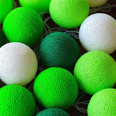 Cordão de Luz Cotton Tons de Verde