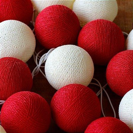 Cordão de Luz Cotton Vermelho e Branco Neve