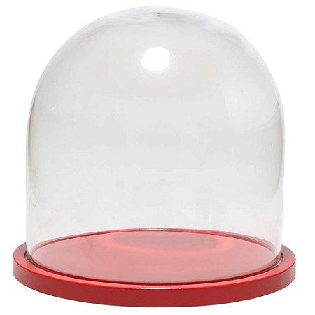 Redoma de vidro lisa com base de MDF vermelha - pequena