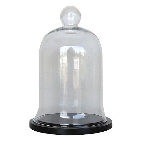 Redoma de vidro com base de MDF preta - pequena