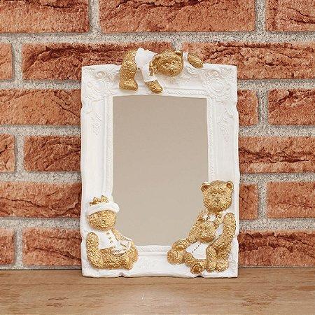 Espelho decorado - Ursos dourado