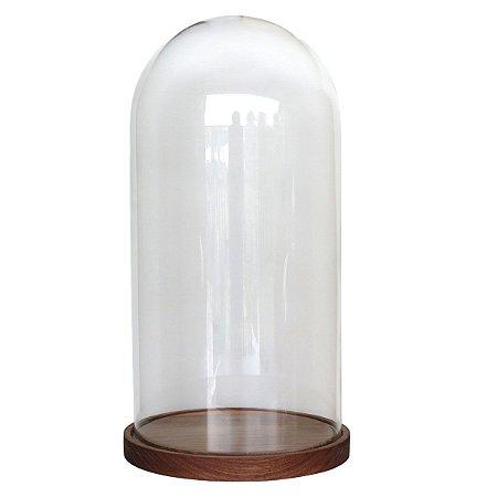 Redoma de vidro lisa com base de madeira Jequitibá - grande