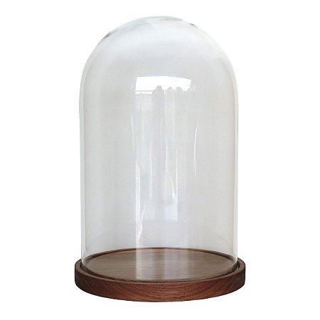 Redoma de vidro lisa com base de madeira Jequitibá - média