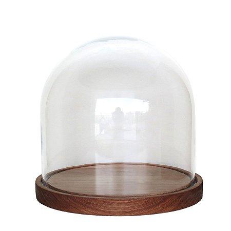 Redoma de Vidro lisa com base de madeira Jequitibá - pequena