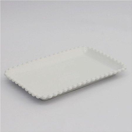 Prato de louça retangular branco