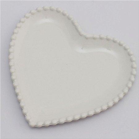 Prato de louça coração branco