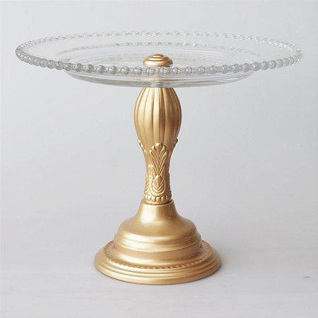 Boleira de vidro e metal dourada