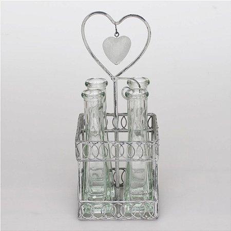 Suporte de metal com 4 vasos de vidro