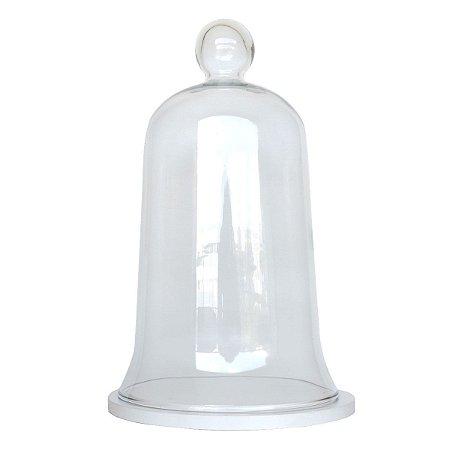 Redoma de vidro com base de MDF branca - média