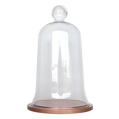 Redoma de vidro com base de MDF cobre - média