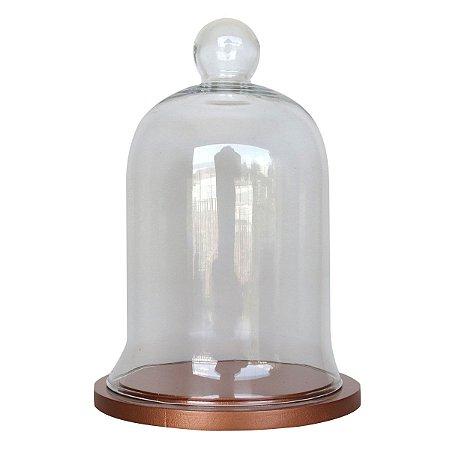 Redoma de vidro com base de MDF cobre - pequena