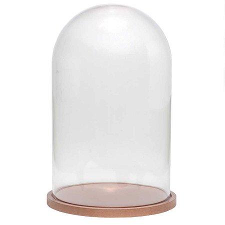 Redoma de vidro lisa com base de MDF cobre - média