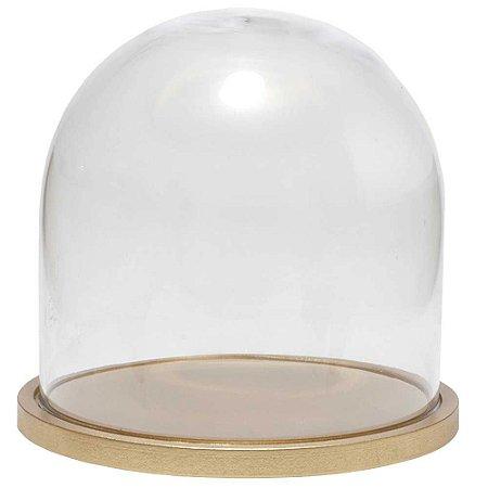 Redoma de vidro lisa com base de MDF dourada - pequena