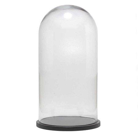 Redoma de vidro lisa com base de MDF preta - grande