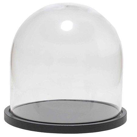 Redoma de vidro lisa com base de MDF preta - pequena