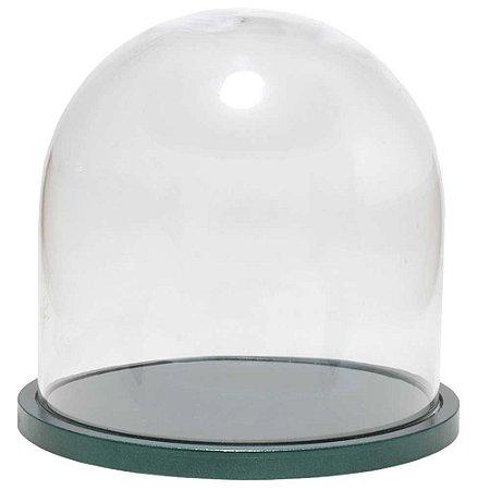 Redoma de vidro lisa com base de MDF verde metálica - pequena