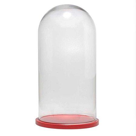 Redoma de vidro lisa com base de MDF vermelha - grande