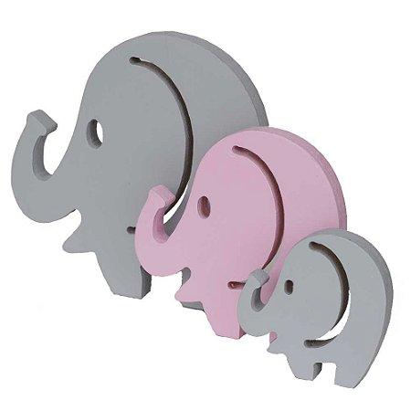 Trio de Elefantes - Cinza e Rosa