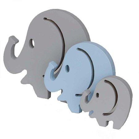 Trio de Elefantes - Cinza e Azul
