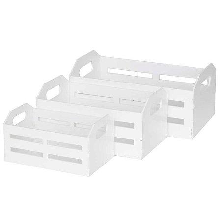 Trio de caixotes de MDF branco